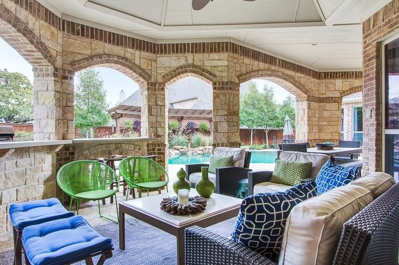 Larkins for a Traditional Pool with a Green and Blue and Blues by Emily Johnston Larkin
