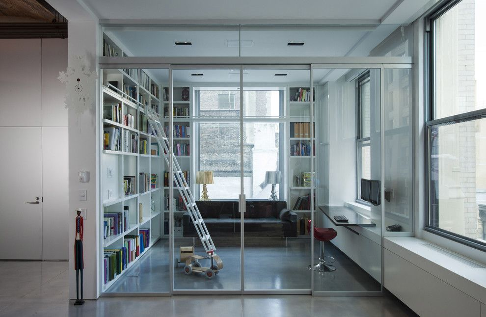 Larsondoors.com for a Industrial Home Office with a White Bookcase and Modern Loft by Naiztat + Ham Architects, P.c