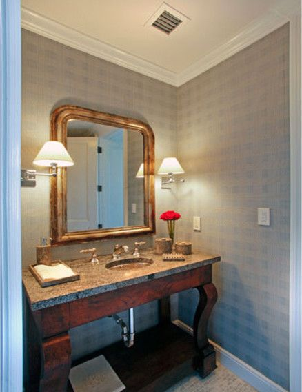 Leaf Cutter Bees for a Traditional Powder Room with a Antique Wood Furniture Vanity with Grani and North Bay Road by Dunagan Diverio Design Group
