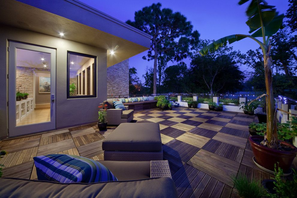 Leeds Certification for a Contemporary Deck with a Outdoor Furniture and Mid Century Modern Patio by Realstone Systems