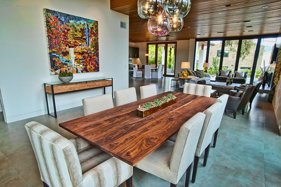 Leeds Certification for a Contemporary Dining Room with a Tile Floor and Vision House Los Angeles by Structure Home