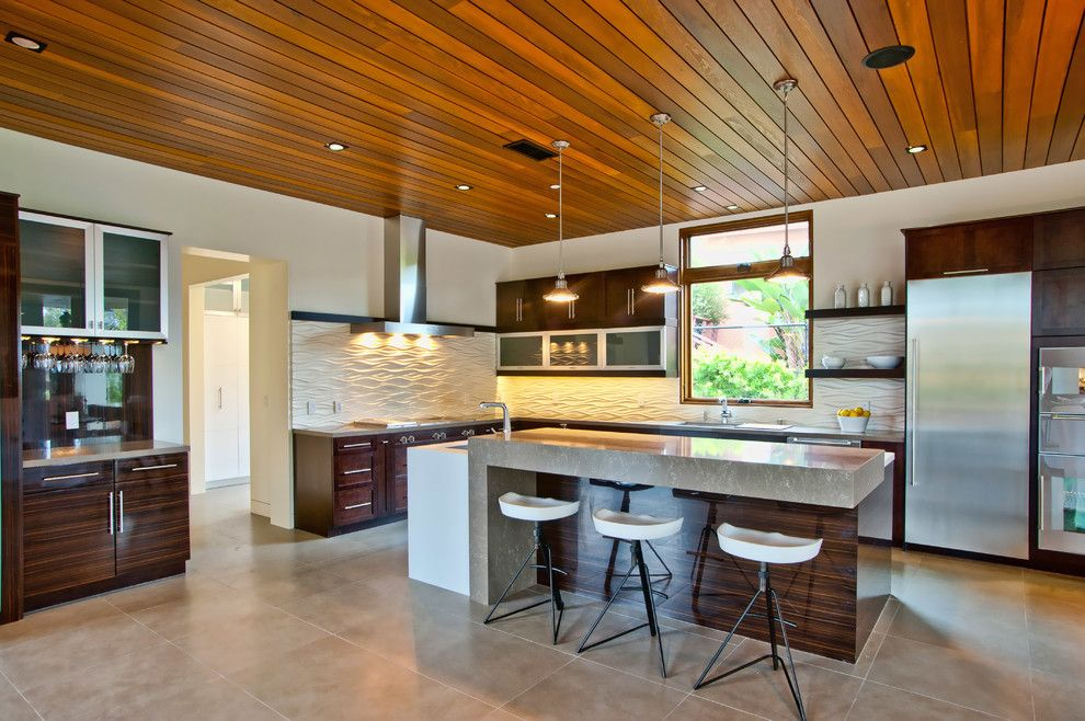 Leeds Certification for a Contemporary Kitchen with a White Backsplash and Vision House Los Angeles by Structure Home