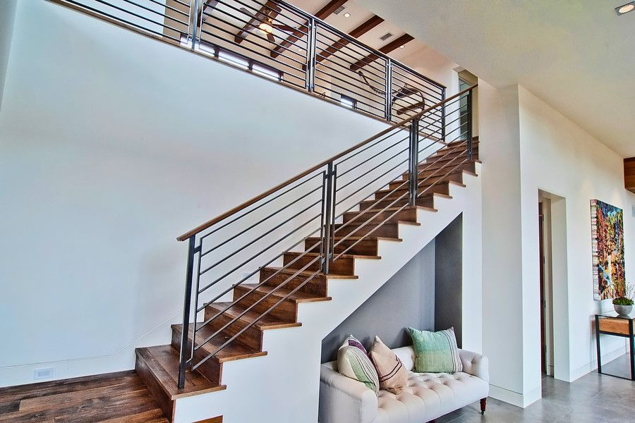 Leeds Certification for a Contemporary Staircase with a Iron Railing and Vision House Los Angeles by Structure Home