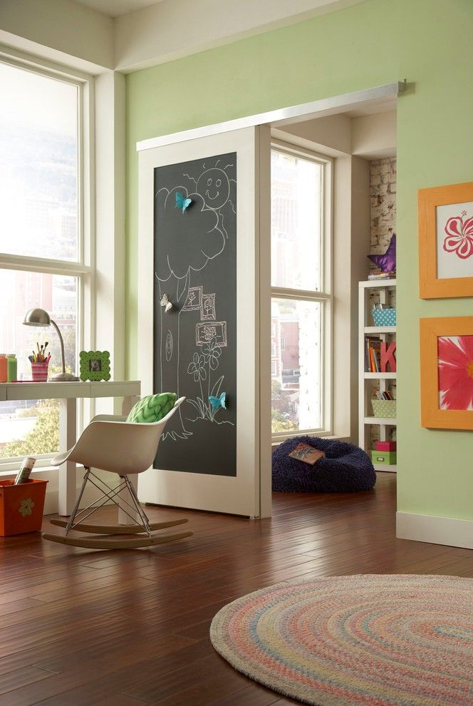 Leesburg Movie Theater for a Contemporary Kids with a Rocking Chair and Playroom Wall Mount 2610f by Johnson Hardware