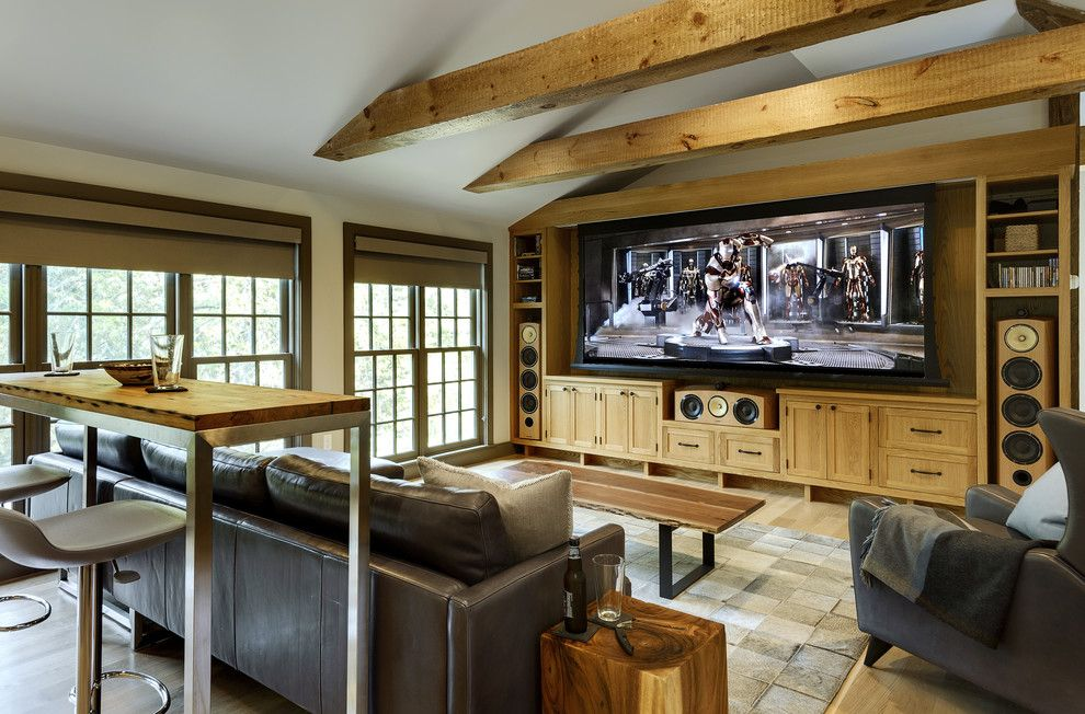 Leesburg Movie Theater for a Farmhouse Home Theater with a Big Speakers and Home Theater by Crisp Architects