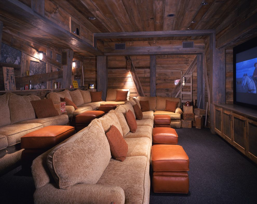 Leesburg Movie Theater for a Rustic Home Theater with a Black Carpet and Private Mountain by Studio Frank