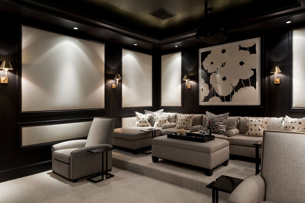 Leesburg Movie Theater for a Traditional Home Theater with a Black and White Pillows and Coral Gables, Florida Home by Eva Quateman Interiors