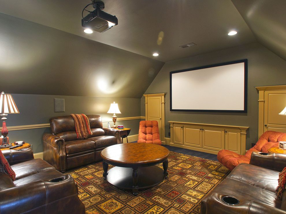 Leesburg Movie Theater for a Traditional Home Theater with a Grey and Greensboro Residence by Ssi Design Group, Inc.