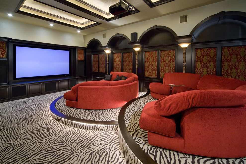Leesburg Movie Theater for a Traditional Home Theater with a Red Sectional and 2008 Orlando Street of Dreams by Irvin Homes, Llc