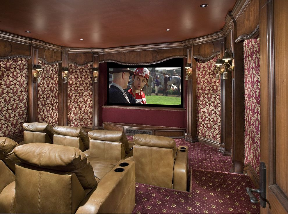 Leesburg Movie Theater for a Traditional Home Theater with a Wood Molding and Theatre by Bess Jones Interiors