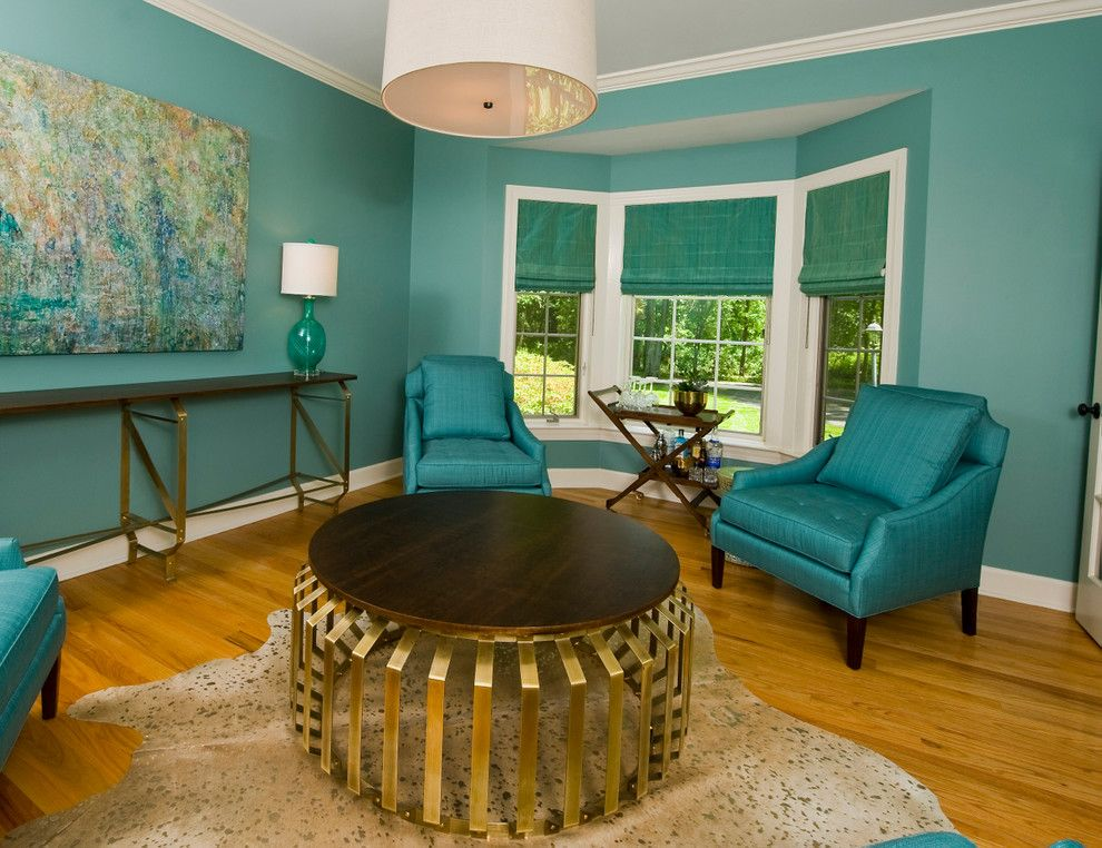Leland Furniture for a Modern Home Bar with a Turquoise and the Cocktail Room by K. D. Ellis Interiors