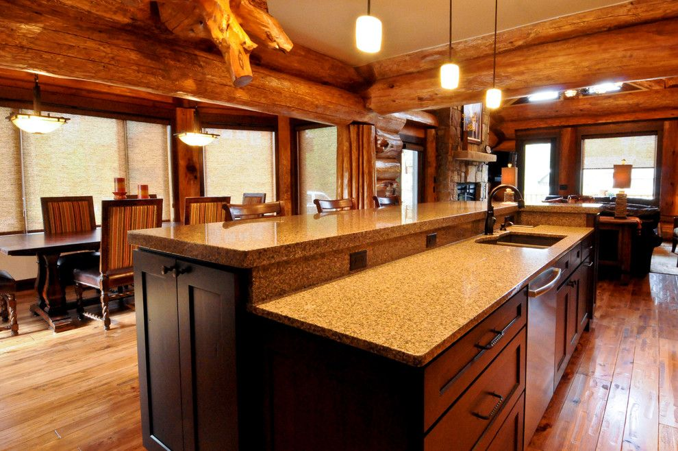 Leland Furniture for a Rustic Kitchen with a Rustic Kitchen and Western Red Cedar Ranch Style Log Home by Mountain Log Homes of CO, Inc.