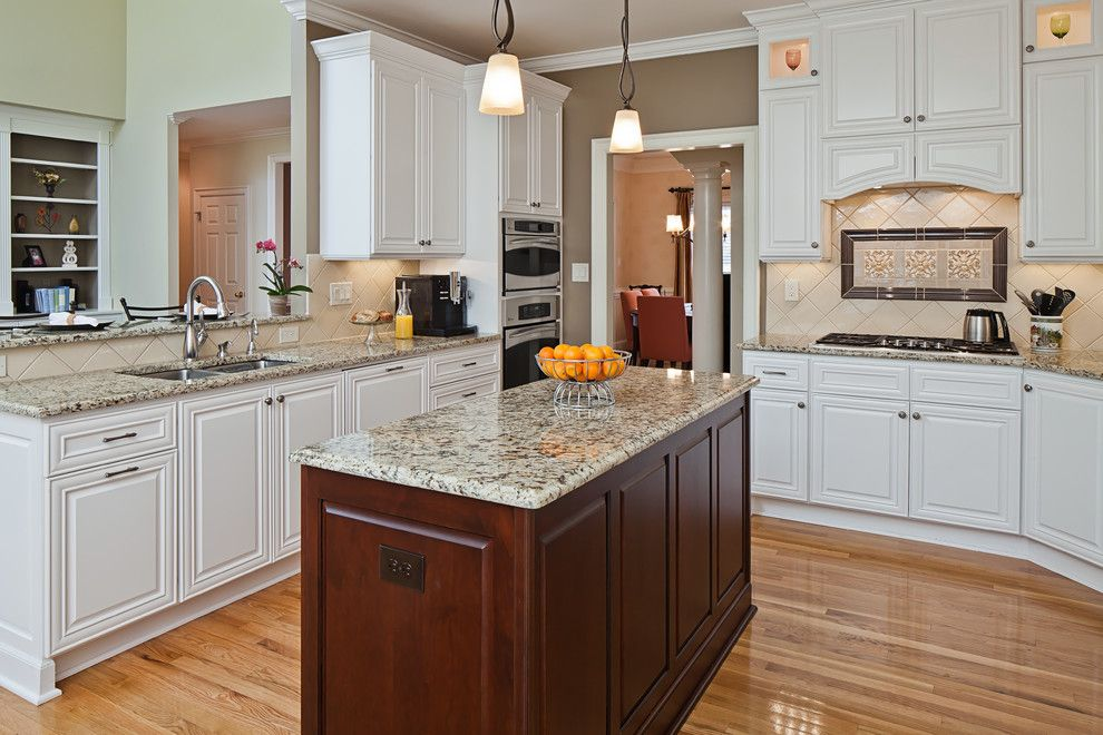 Leland Furniture for a Traditional Kitchen with a Natural Oak Floors and Camilla Drive by Case Design/remodeling