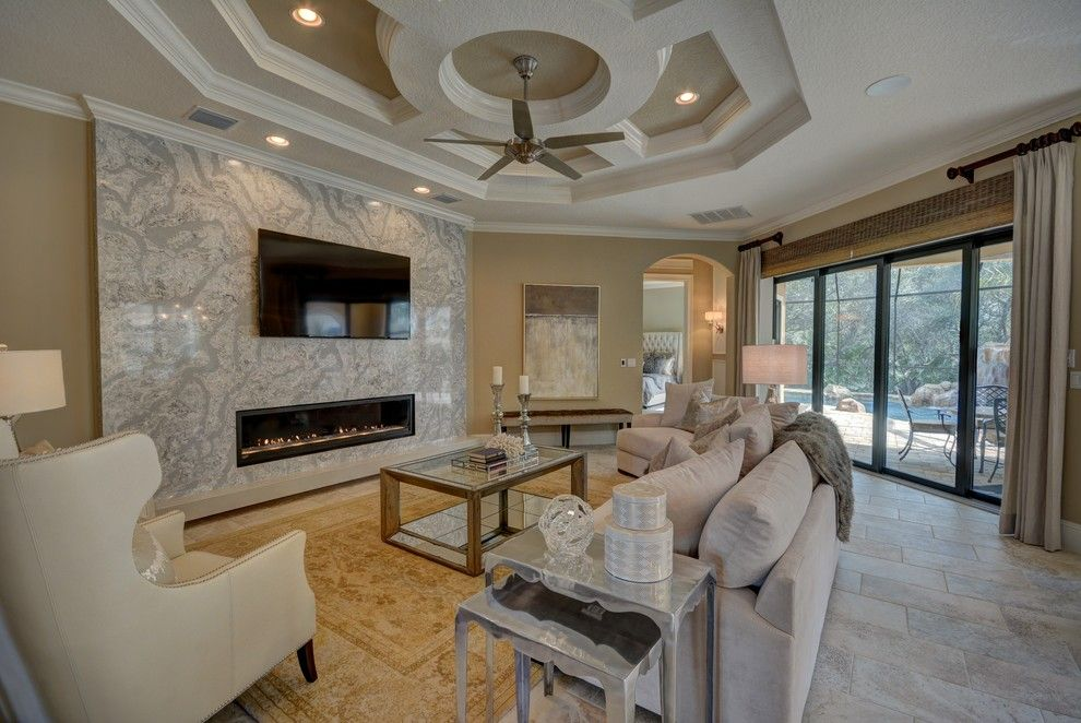 Lennar Homes Florida for a Transitional Living Room with a Fireplace and Ravello Ii by Bellagio Custom Homes Llc