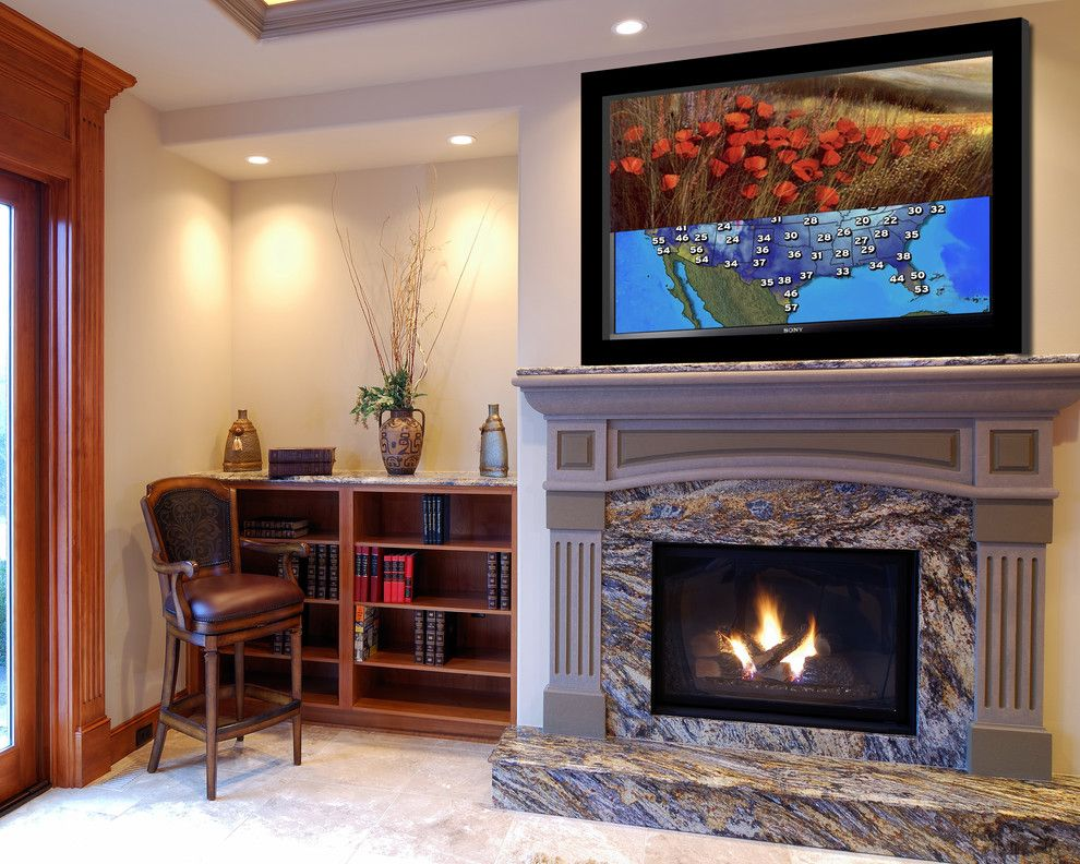 Lennar Homes Miami for a Traditional Living Room with a Frames and Media Décor Moving Art Screen in a Miami Home by Leon Speakers, Inc.