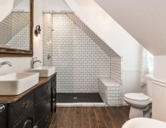Lennar Homes Reviews for a Industrial Bathroom with a 3x6 Subway Tile and Eclectic Gable Bath by Gill Design & Construction LLC