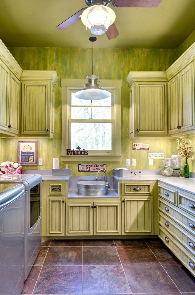 Lennar Homes Reviews for a Rustic Laundry Room with a Yellow Cabinets and Indian Lakes, Mountain Lodge Style by Ellis Custom Homes Llc