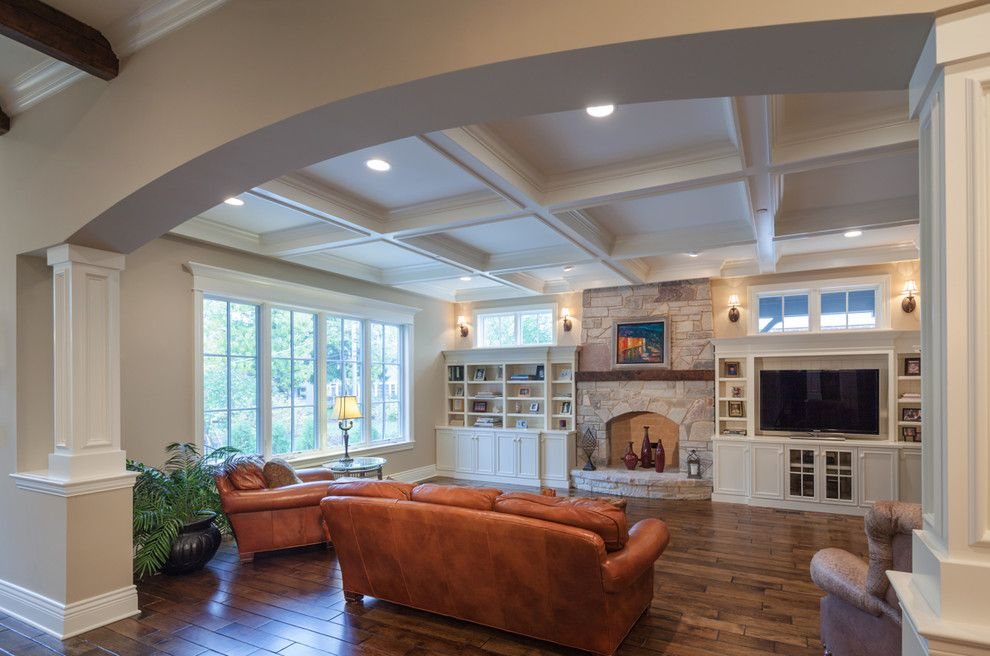 Lettuce Entertain You Restaurants Chicago for a Traditional Family Room with a Coffered Ceiling and Arthur Project by Greenside Design Build Llc