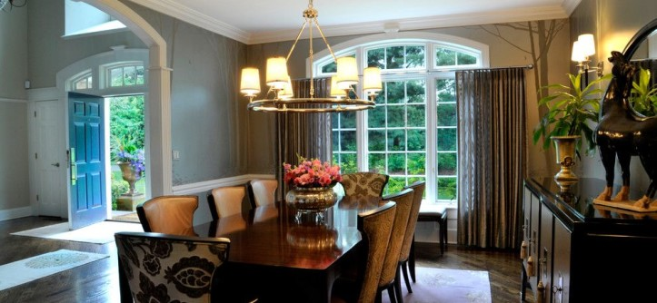 Levin Furniture Locations for a Transitional Dining Room with a Custom Window Treatments and NY Estate by a Perfect Placement