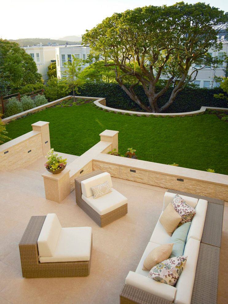 Levin Furniture Locations for a Transitional Patio with a Biege Tile and Internal by Boxleaf Design, Inc.