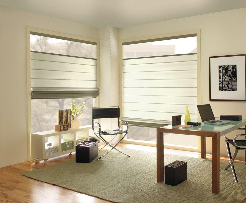 Levolor.com for a Contemporary Home Office with a Contemporary Office and Levolor Classic Roman Shade by Blinds.com