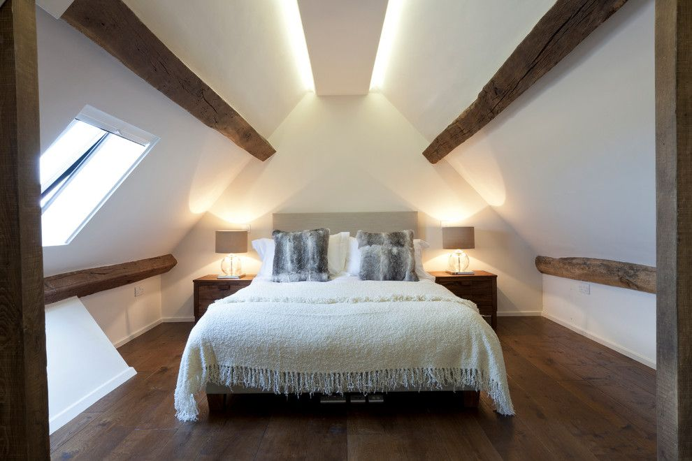 Light Bulb Depot for a Contemporary Bedroom with a Bedding and Contemporary Barn Conversion by Studio Mark Ruthven
