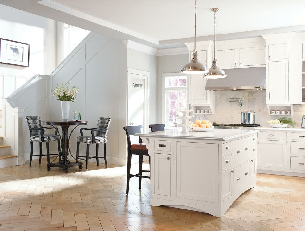 Light Bulb Depot for a Contemporary Kitchen with a Herringbone Pattern and Kitchen Cabinets by Capitol District Supply