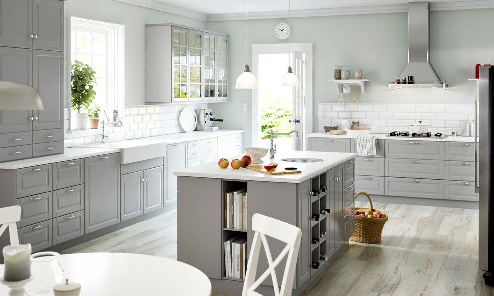 Lightbright for a Traditional Kitchen with a White Subway Tile and 2015 Sektion Kitchens by Ikea