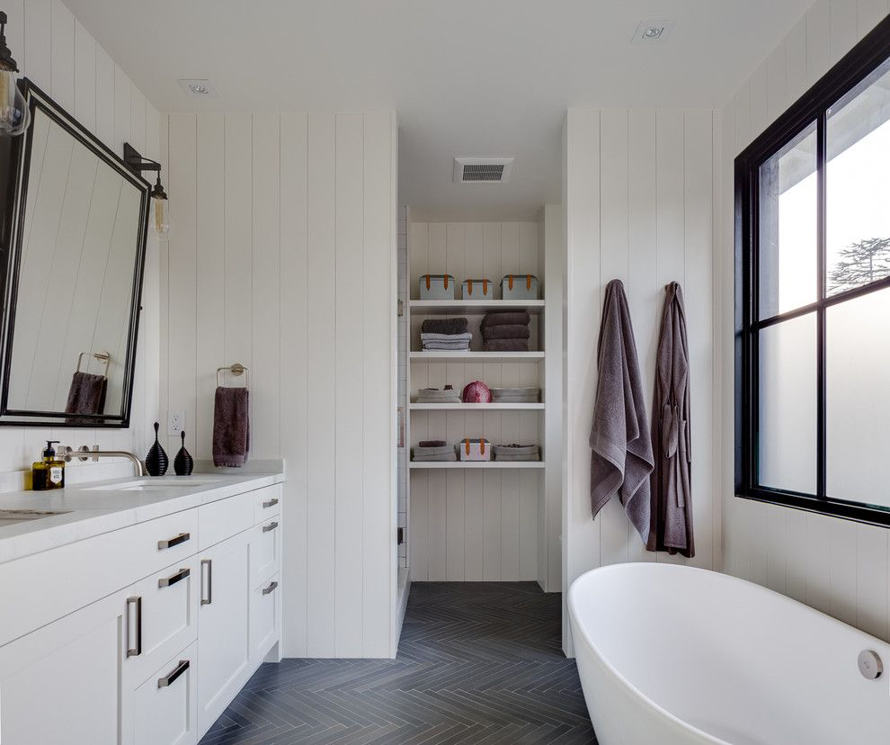 Lightbright for a Transitional Bathroom with a Towel Ring and Mill Valley Modern Barn by Artistic Designs for Living, Tineke Triggs