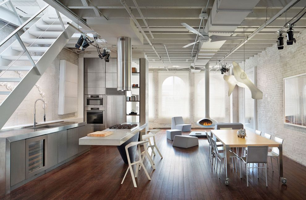 Lightolier for a Modern Kitchen with a Integrated Sink and Soho Loft   Rooftop Expansion by John Muggenborg   Architectural Photography