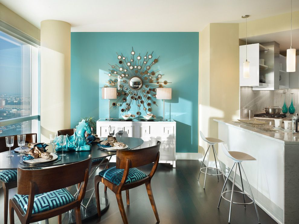 Lillians for a Contemporary Dining Room with a Glass Table and City Living on the Hudson by Gacek Design Group, Inc.