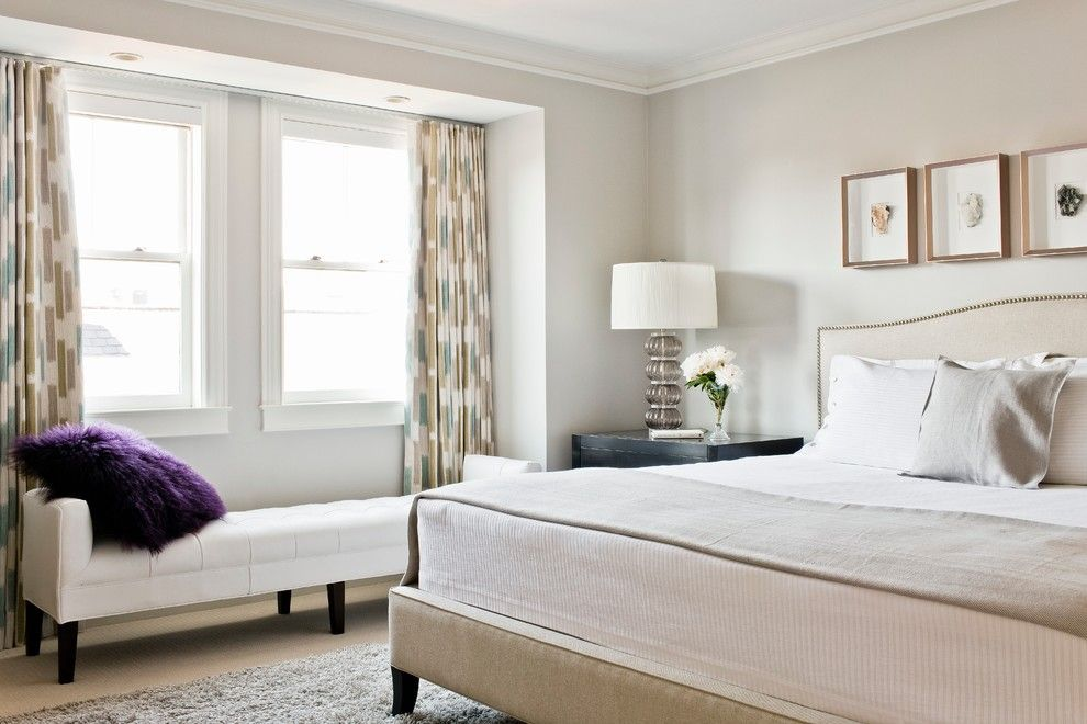 Lillians for a Transitional Bedroom with a Upholstered Bed and Contemporary Boston Town Home Renovation by Vicki Crew Interiors