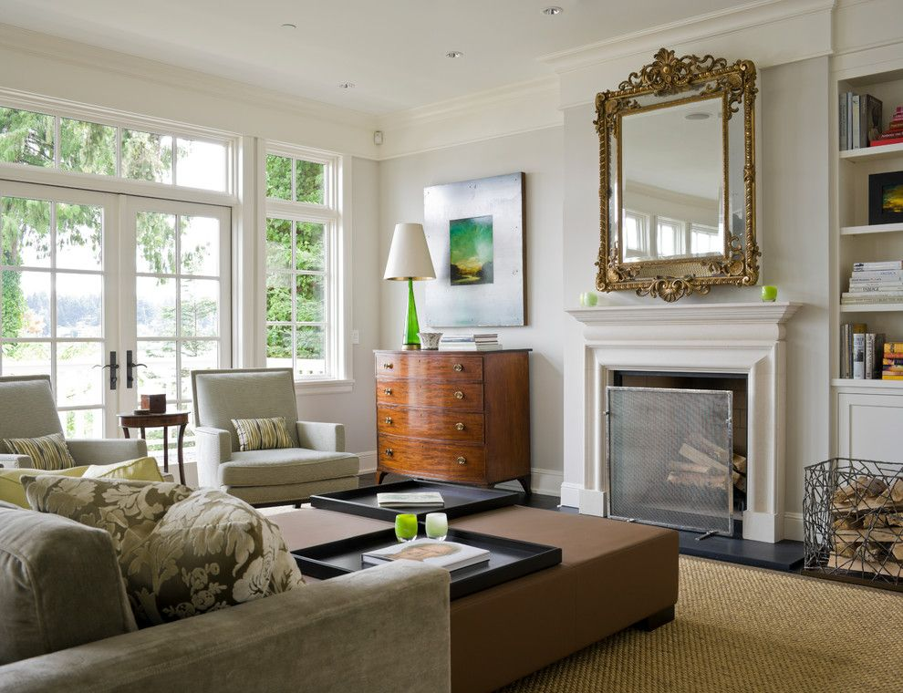 Lillians for a Transitional Living Room with a White Window Trim and Seattle Residence, Wa by Laura Bohn Design Associates