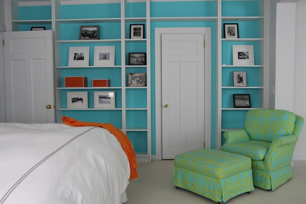 Lilly Pulitzer Designs for a Beach Style Bedroom with a Bookcases and Bedrooms by David Nosella Interior Design
