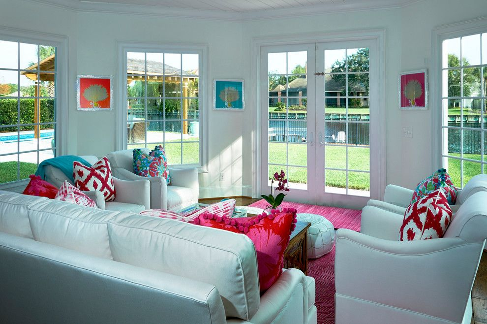 Lilly Pulitzer Designs for a Tropical Sunroom with a Dash Albert and Pink and White Delight by Mineral City