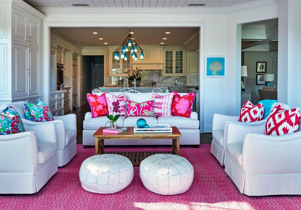 Lilly Pulitzer Designs for a Tropical Sunroom with a Light Colors and Pink and White Delight by Mineral City