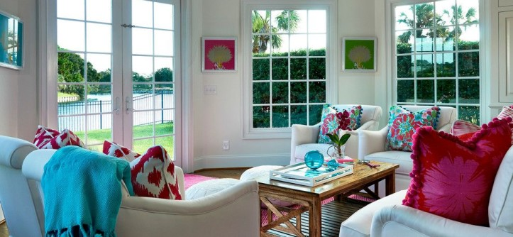 Lilly Pulitzer Designs for a Tropical Sunroom with a Pink and Pink and White Delight by Mineral City
