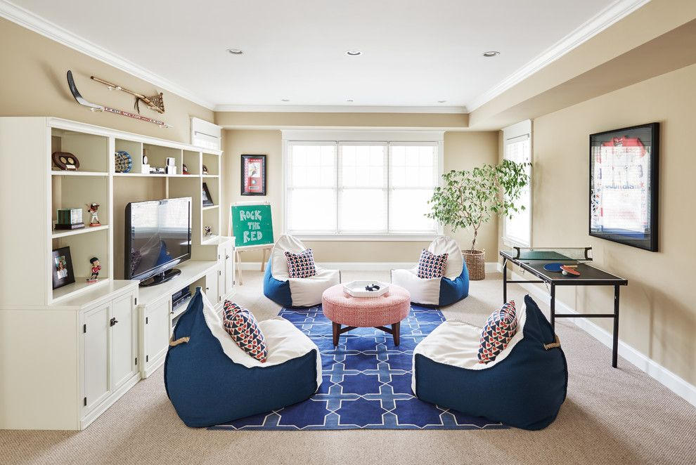 Lillys for a Traditional Kids with a Mini Ping Pong Table and Chevy Chase Play Room by Stuart Nordin Design