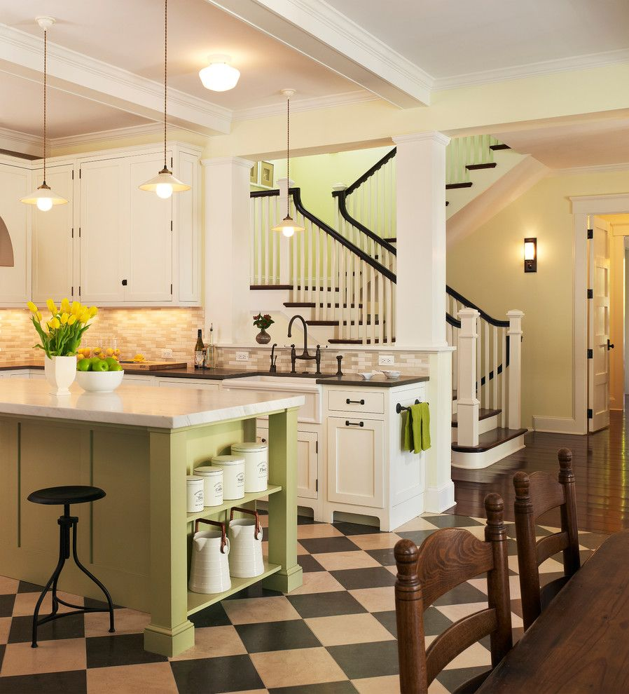 Lime Green Stool for a Beach Style Kitchen with a Cabinet and Lakeside Family Cottage by Barnes Vanze Architects, Inc