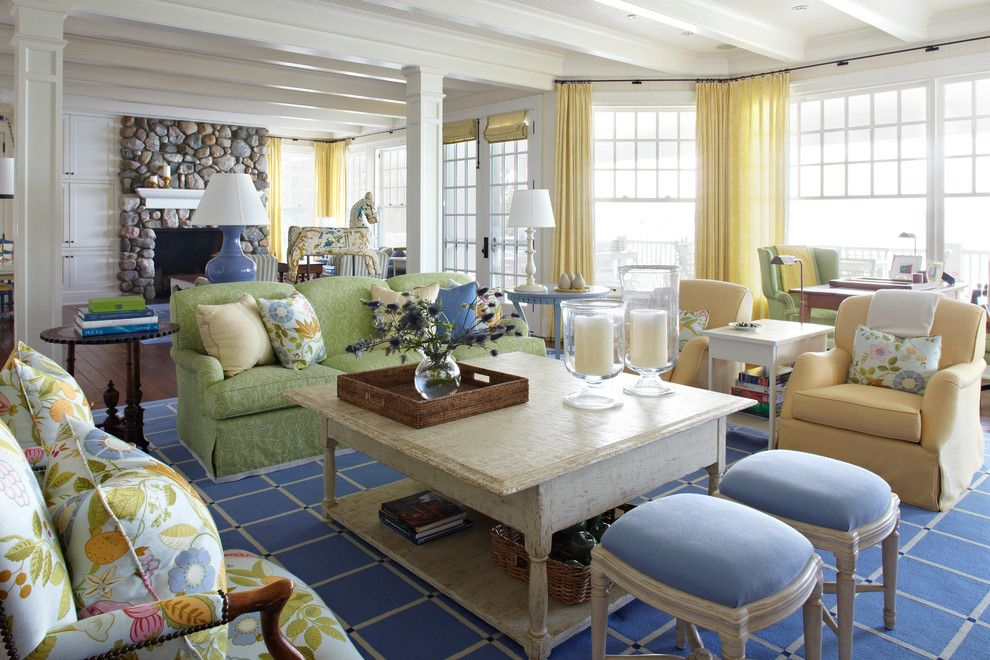 Lime Green Stool for a Beach Style Living Room with a Yellow Chair and Michigan Summer Home by Tom Stringer Design Partners