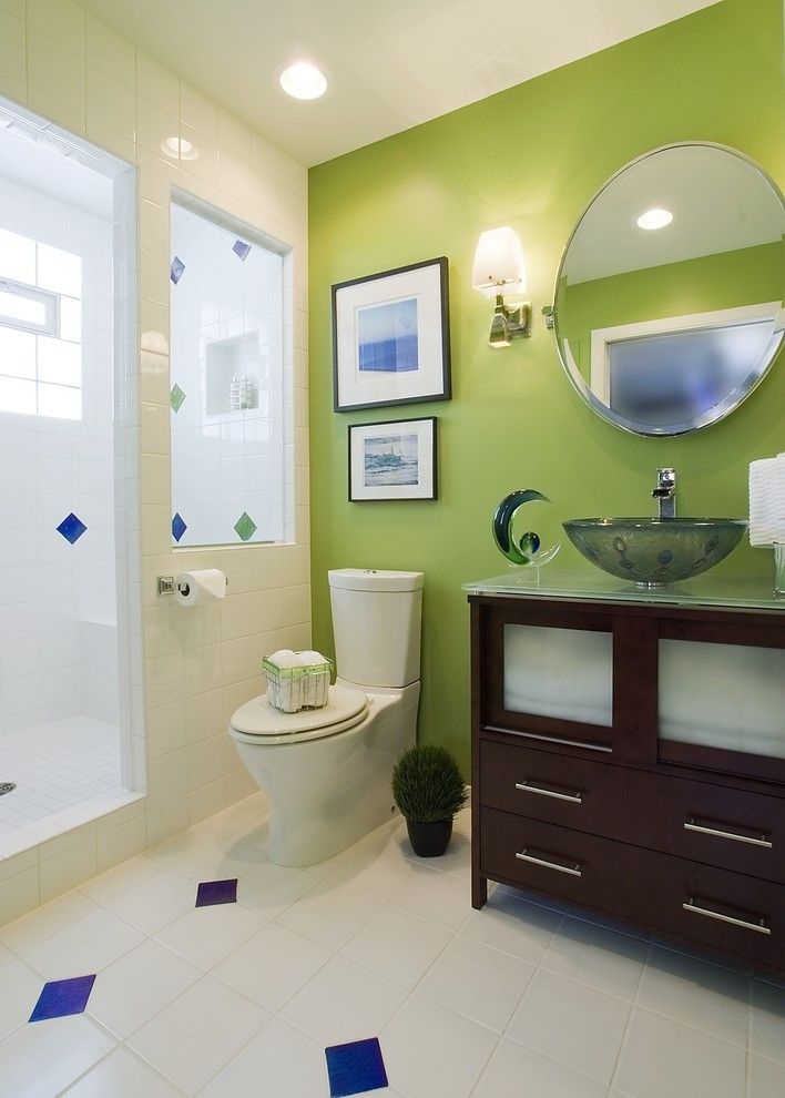 Lime Green Stool for a Contemporary Bathroom with a Guest Bathroom and Clean Lines, Bold Color by Suzan J Designs   Decorating Den Interiors
