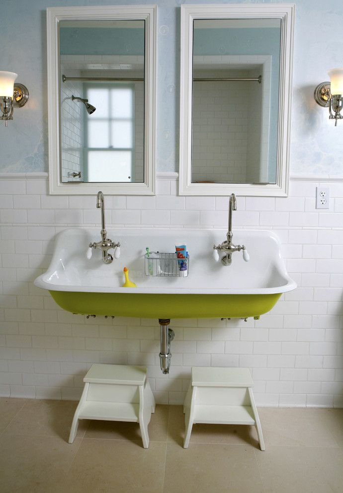 Lime Green Stool for a Traditional Bathroom with a Vintage Sink and Washington Street Remodel by Upscale Construction