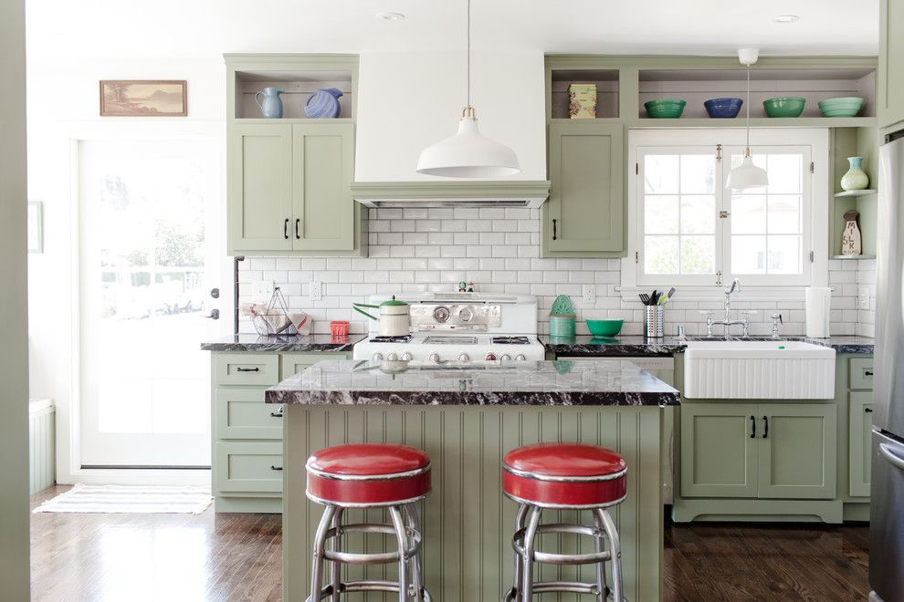 Lime Green Stool for a Traditional Kitchen with a Small Kitchen Island and Highland Park Craftsman by Rubbertreeplant