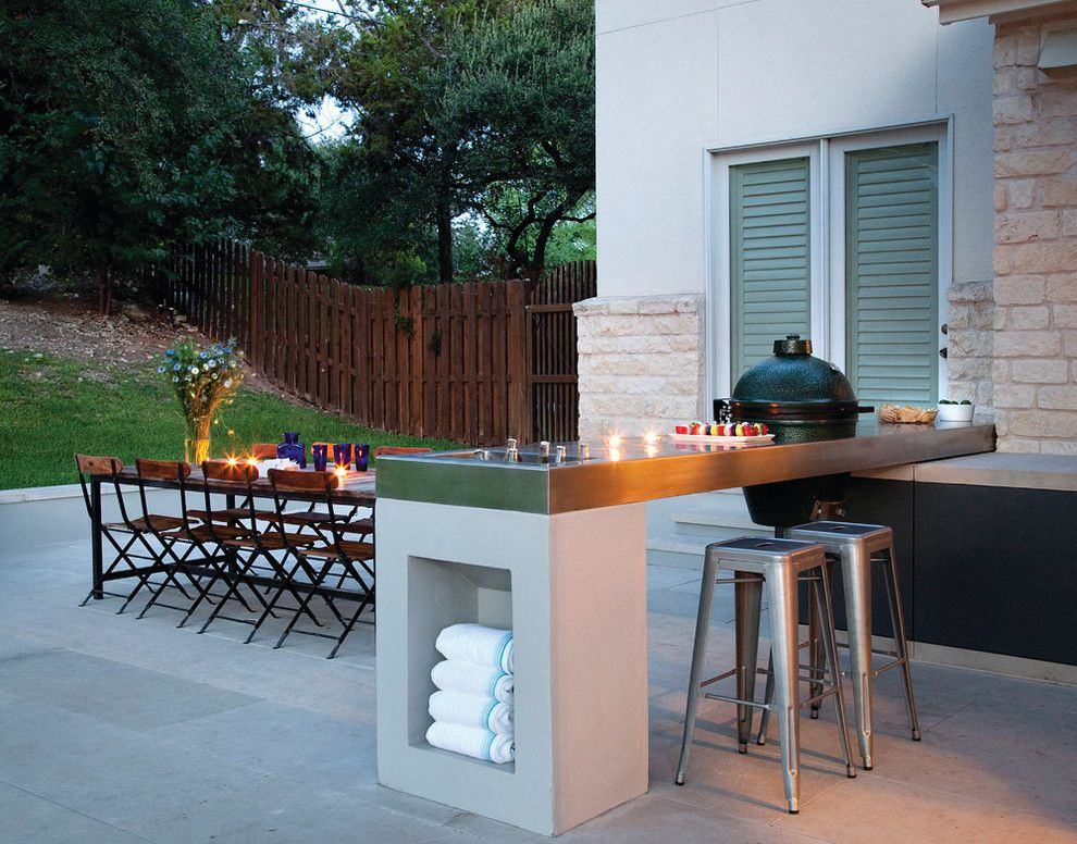 Limestone Grill for a Contemporary Patio with a Outdoor Dining and North Oak Canyon by Austin Outdoor Design