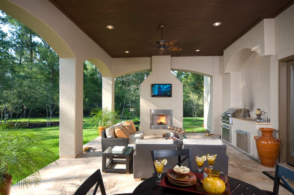 Limestone Grill for a Contemporary Patio with a Outdoor Kitchen and 270901 by Rice Residential Design