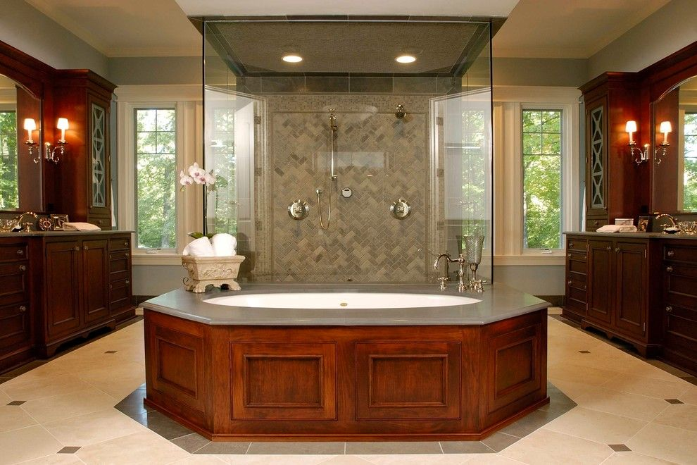 Limestone Grill for a Traditional Bathroom with a Double Shower and Nantucket Stone and Shingle Style Elegance in Lake Forest by Orren Pickell Building Group