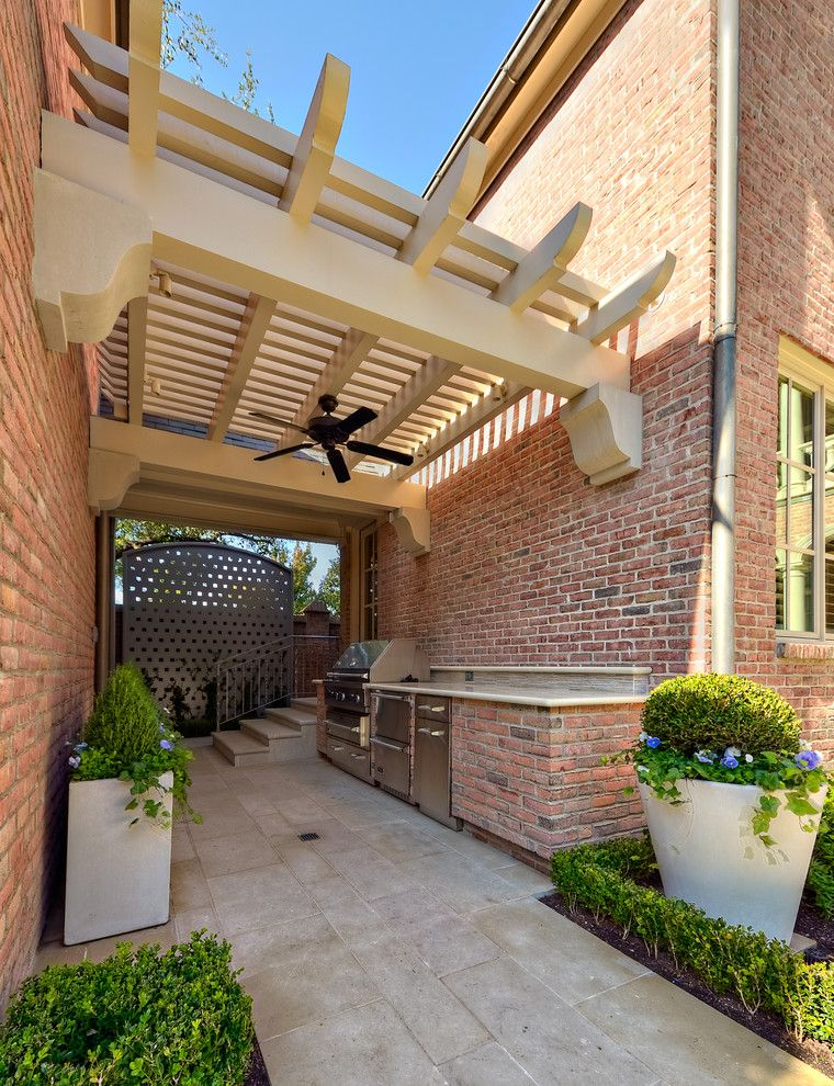 Limestone Grill for a Traditional Patio with a Bbq Grill and Outdoor Living by Harold Leidner Landscape Architects