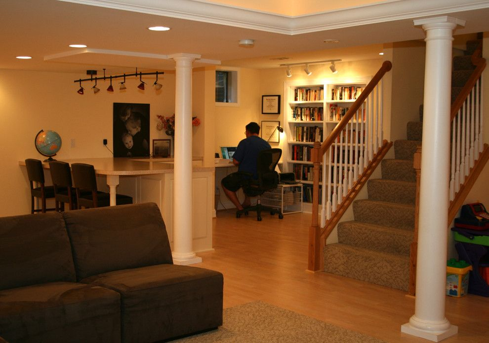 Linon for a Traditional Basement with a Recreation and Basements and Lower Level Spaces by Agape Construction