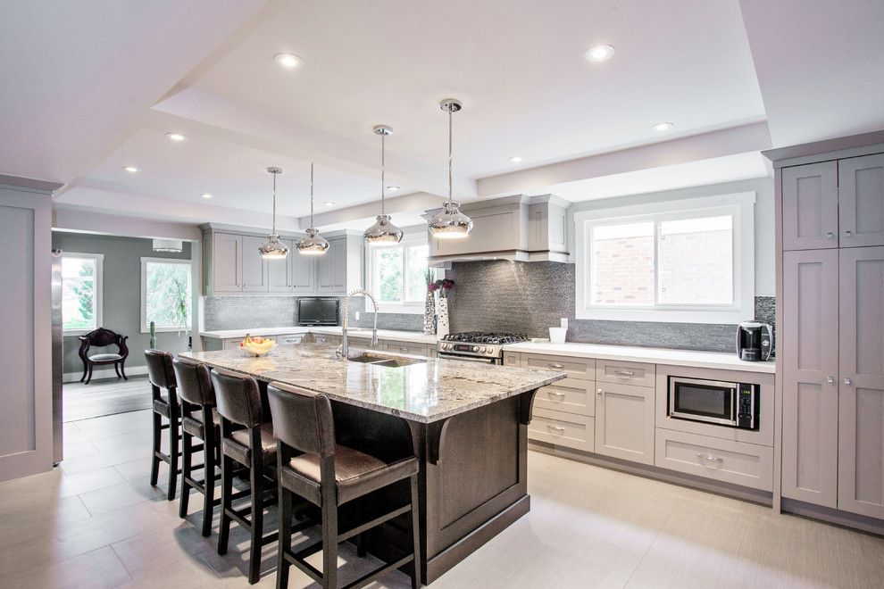 Linon for a Transitional Kitchen with a Leather Stools and Toronto Main Floor Home Renovation by Madison Taylor