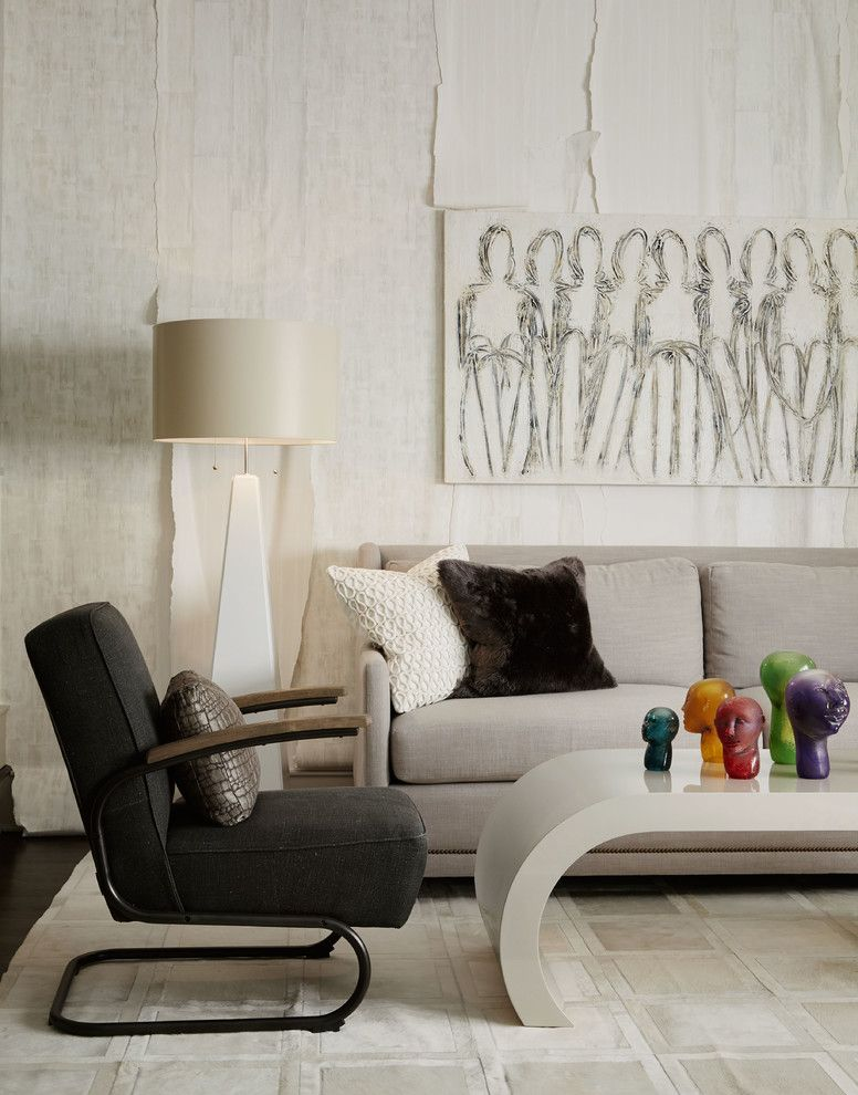 Litin Paper for a Contemporary Living Room with a Gray Sofa and Gracious House Showhouse 2014   Family Room by Susan Brunstrum of Sweet Peas Design Inc